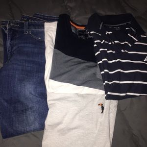 Three men's t-shirts and jeans
